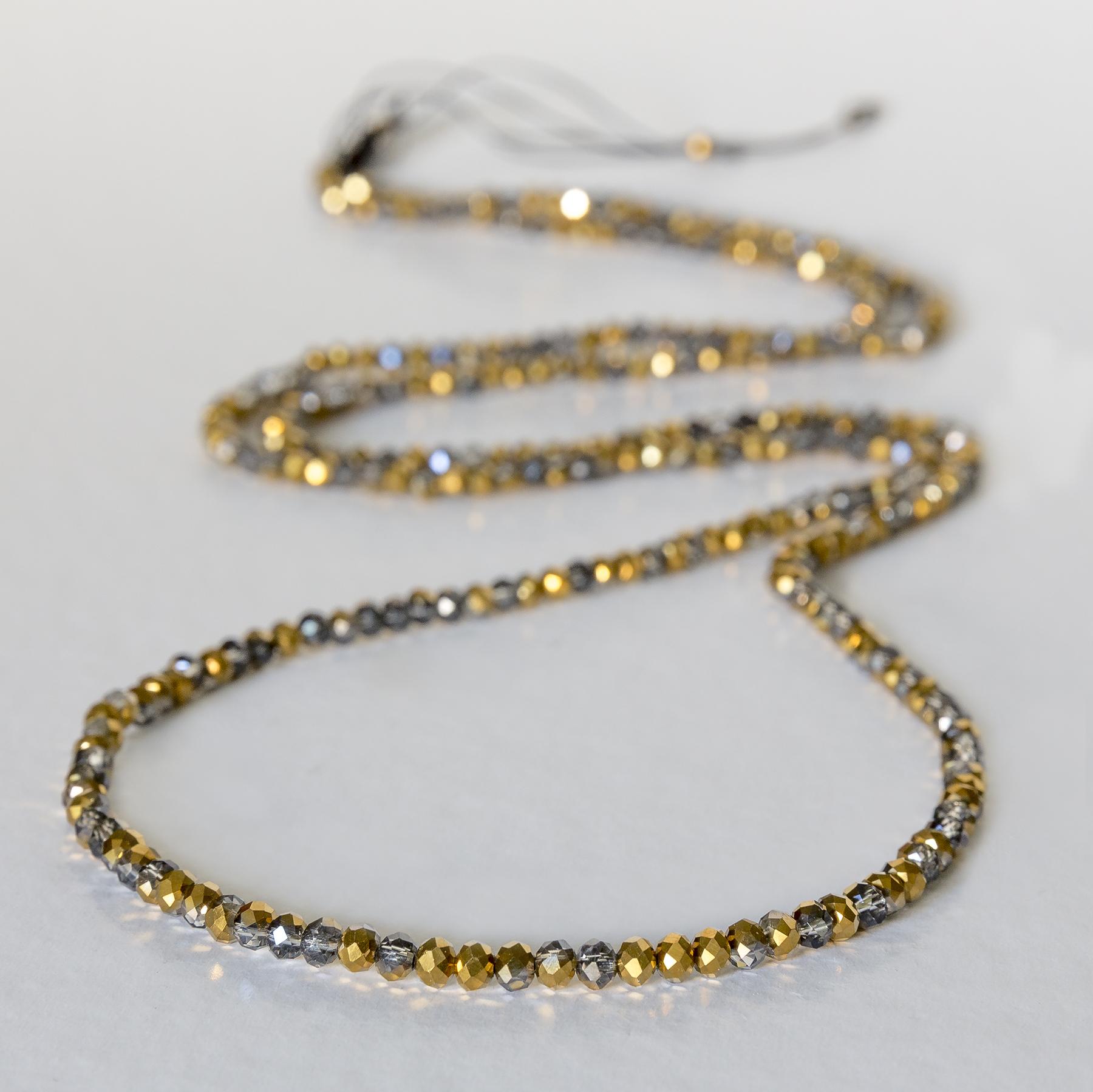 Χειροποίητο Μακρύ κολιέ από δίχρομες κρυστάλλινες χάντρες (χρυσό ... b4ca12036fd