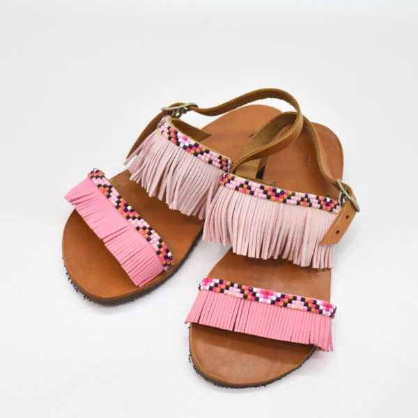 1c295db2a73 Χειροποίητα παιδικά σανδάλια με ροζ τρέσα. – Bibiaz Accessories & more
